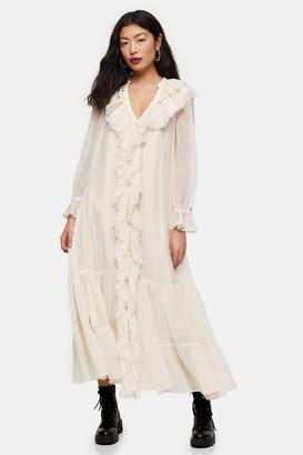 Topshop Womens Petite Ivory Chiffon Ruffle Maxi Dress - Ivory