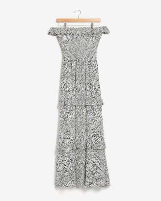 Express Dot Print Smocked Off The Shoulder Maxi Dress