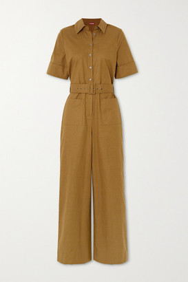 STAUD Zavey Belted Linen-blend Jumpsuit - Army green
