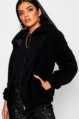boohoo Teddy Faux Fur Bomber Jacket