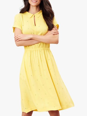 Joules Etty Broderie Knee Length Dress, Yellow