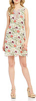 M.S.S.P. Lace Up Floral Print Shift Dress