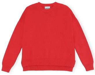 Ganni Cotton Knit Crewneck Sweater in Lollipop