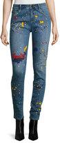 Alice + Olivia Joana Paint-Splatter Skinny Jeans, Multi
