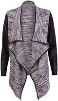 Purple Hanger PurpleHanger Women's PU Long Sleeve Wet Look Trim Open Cardigan Jacket Coat 4-6