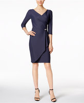 Alex Evenings Petite Rhinestone Faux-Wrap Scuba Dress