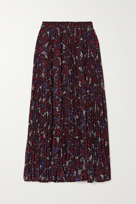 MICHAEL Michael Kors Zinnia Pleated Floral-print Chiffon Midi Skirt - Dark purple