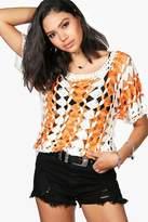 boohoo Nicola Crochet Knit Top orange