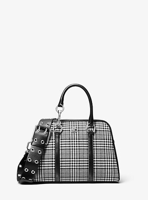 Michael Kors Cindi Medium Glen Plaid Bowling Satchel