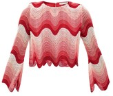 Mary Katrantzou Worry Less Cropped Wave-crochet Top - Womens - Pink