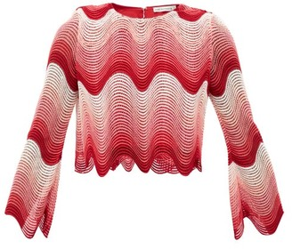 Mary Katrantzou Worry Less Cropped Wave-crochet Top - Pink