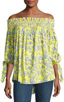 Caroline Constas Lou Multi-Print Top, Yellow Pattern