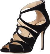 Jimmy Choo Leash Piped Cutout Sandal, Black