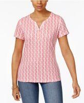Karen Scott Petite Printed Henley T-Shirt, Only at Macy's