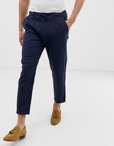 ONLY & SONS slim fit linen mix pants in navy