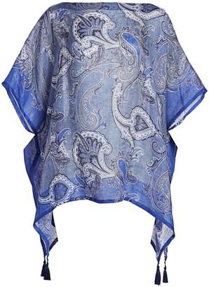 Etro Bandana-Print Linen Poncho