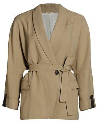 Brunello Cucinelli Linen-Blend Monili-Cuff Wrap Jacket