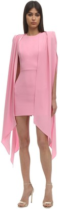 Alex Perry Envers Satin Crepe Mini Dress W/ Cape