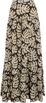 Chloé Printed Cotton And Wool-blend Maxi Skirt - Charcoal