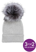 Very Lurex Thread Faux Fur Pom Pom Beanie