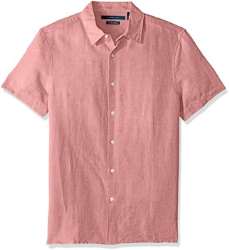 Perry Ellis Men's Short Sleeve Solid Linen Cotton Button-Up Shirt