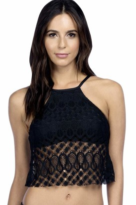 Kenneth Cole Reaction Women's Rainbow Connection Solid Crochet High Neck Cropped Tankini