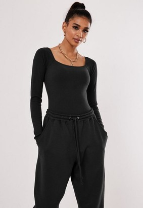 Missguided Straight Neck Strappy Ribbed Bodysuit