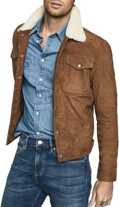 Reiss Miles Suede Trucker Jacket with Genuine Shearling Collar