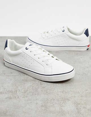 Le Breve classic tennis trainers in white