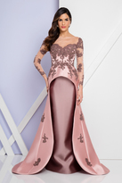 Terani Couture 1721M4310 Sheered Long Sleeve Embellished Gown