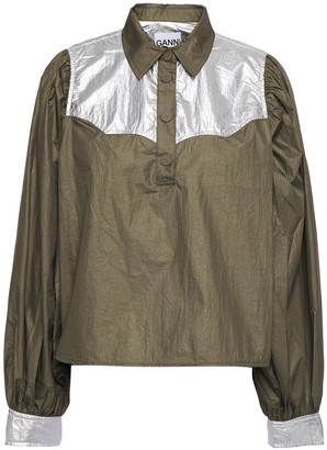 Ganni Mica Two-tone Crinkled-shell Shirt
