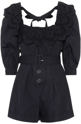 Self-Portrait Lace-trimmed cotton-poplin playsuit