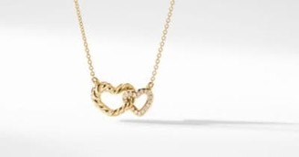 David Yurman Double Heart Pendant Necklace In 18K Yellow Gold With