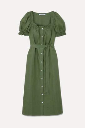 BRIGITTE Sleeper Belted Linen Midi Dress - Leaf green