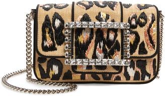 Roger Vivier Tres Vivier Leopard Woven Crossbody Bag