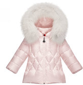 Moncler Splendeur Hooded Diamond-Quilted Puffer Coat, Light Pink, Size 12M-3