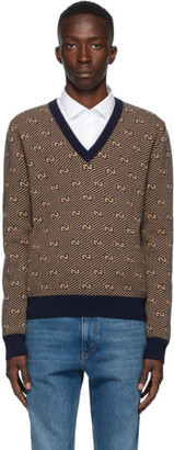 Gucci Brown and Navy Wool GG Stripe Sweater