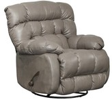 Union City Leather Manual Swivel Recliner Red Barrel Studio Fabric: Gray Genuine Leather
