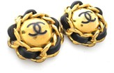 Chanel Gold Plated Metal and Leather Circle Chain Coco Clip Earrings