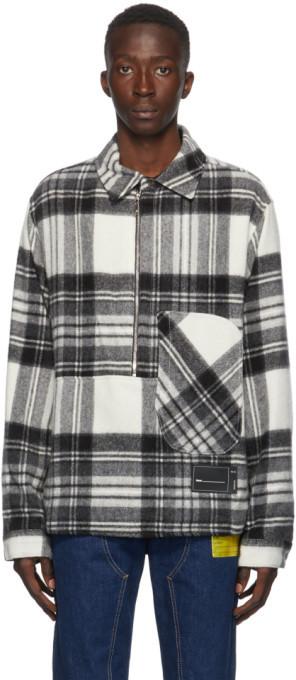 we11done Grey Wool Check Half-Zip Anorak Shirt