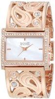 Badgley Mischka Women's BA/1226WMRG Swarovski Crystal-Accented Rose Gold-Tone Bangle Watch