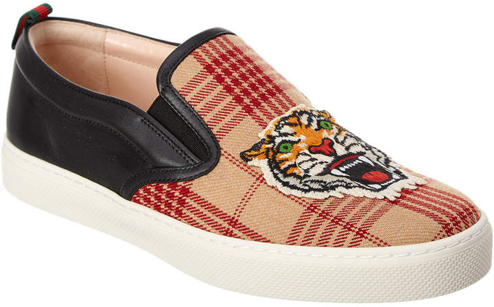 Gucci Tiger Applique Wool & Leather Slip On Sneaker
