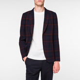 Paul Smith Men's Tailored-Fit Navy Muted-Check Unlined Wool Blazer