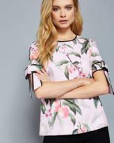 Ted Baker Peach Blossom bow sleeve top