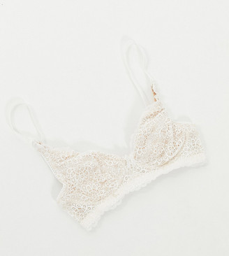 Dorina Maternity Flores recycled micro and lace non- padded nursing bra in ivory