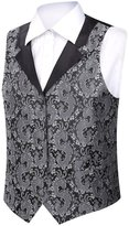 Zicac Men's Floral Printing Tailored Business Suit Vest Waistcoat