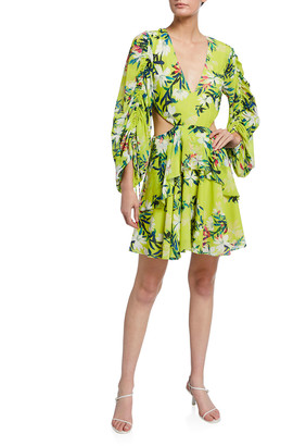 ONE33 SOCIAL Floral Print V-Neck Shirred-Sleeve Cutout Dress