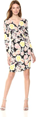 French Connection Women's Enoshima Primted Jersey Long Sleeve Floral Printed Dress