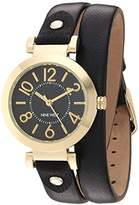 Nine West Women's NW/1952BKBK Gold-Tone and Black Double Wrap Strap Watch