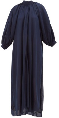 Marrakshi Life - Gathered-neck Cotton-blend Maxi Dress - Navy